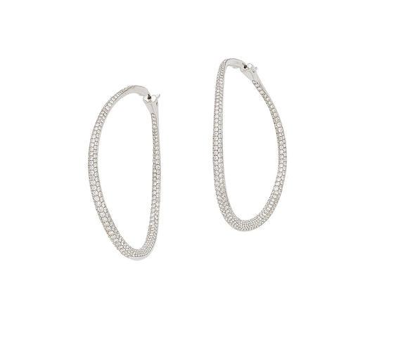 A pair of diamond-set hoop earrings