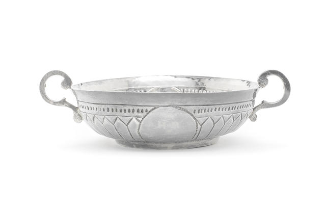 A William III silver two-handled wine taster