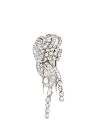 A diamond clip-brooch