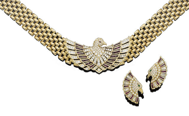 A ruby and diamond eagle necklace and earring suite