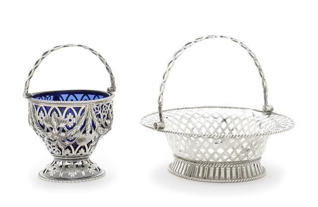 A George II silver swing-handled sweetmeat basket
