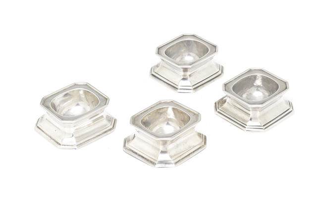 A set of four silver trencher salts