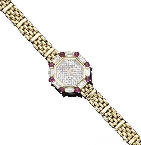 A ruby and diamond bracelet watch