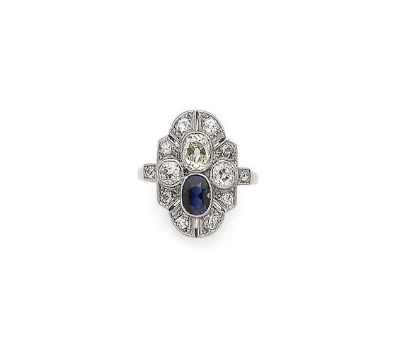 A sapphire and diamond dress ring