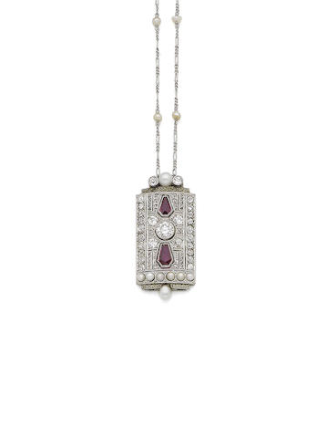 A pearl, synthetic ruby and diamond pendant necklace