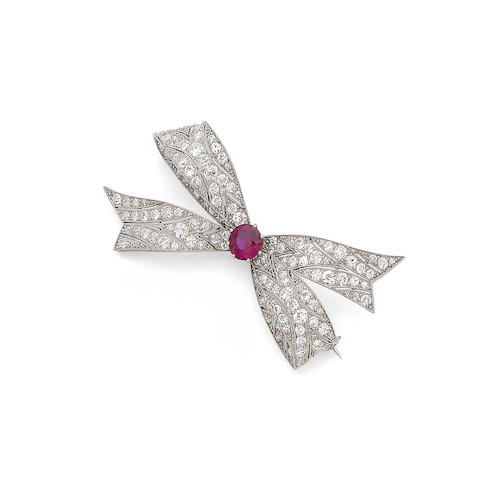 A synthetic ruby and diamond brooch