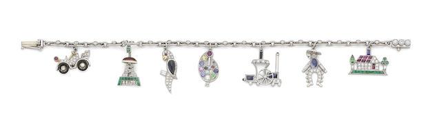 A gem-set and diamond charm bracelet