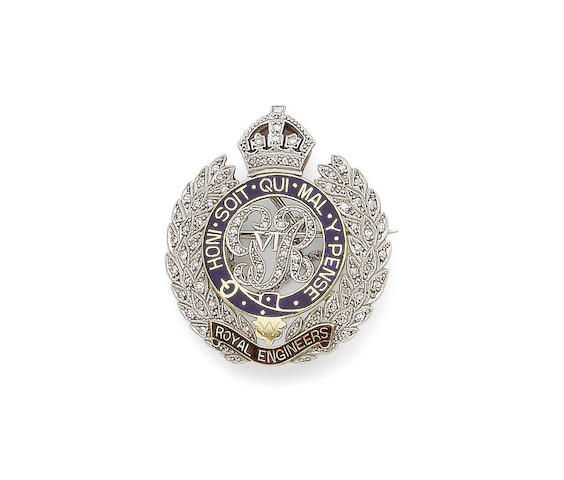 A diamond-set regimental brooch
