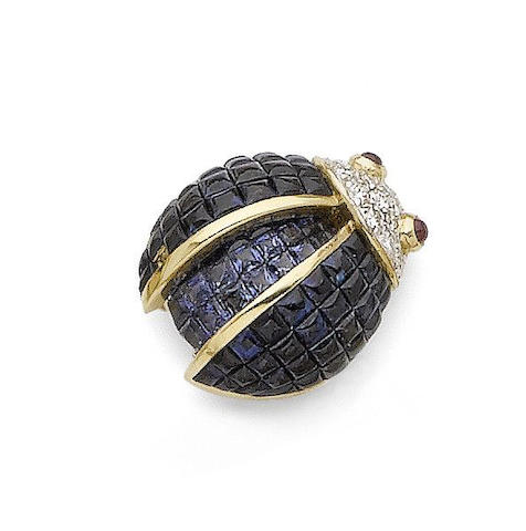 A sapphire, ruby and diamond novelty brooch
