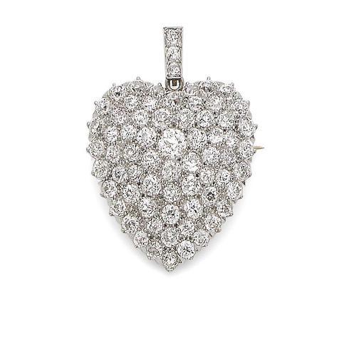 A diamond-set heart pendant/brooch
