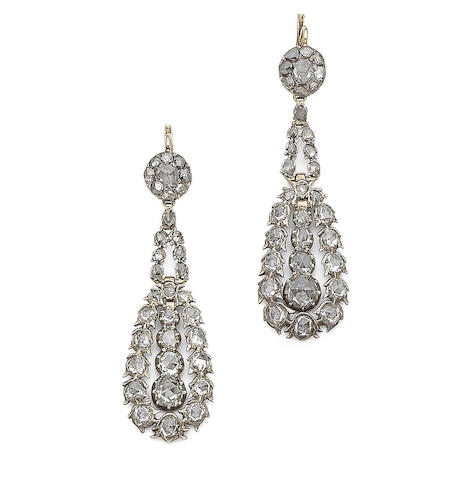 A pair of 18th century diamond earrings