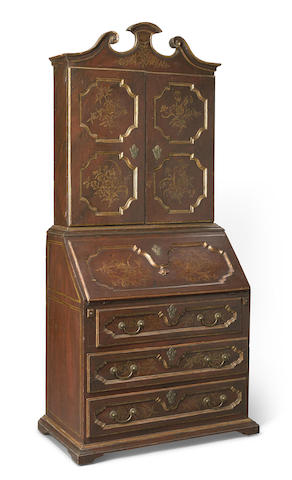 A Venetian Baroque parcel gilt and paint decorated secretary cabinet