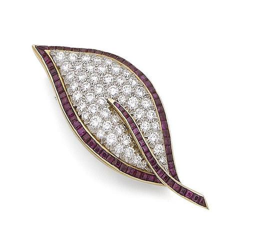A ruby and diamond leaf brooch