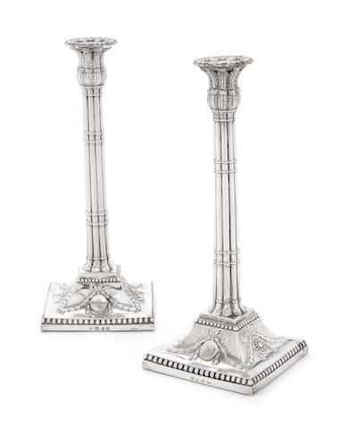 A matched pair of George III silver candlesticks