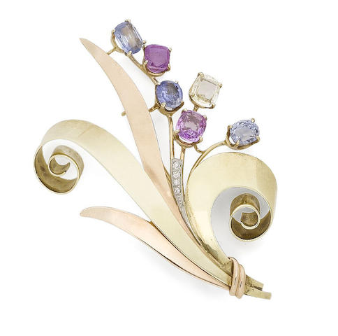 A 'Reflection' sapphire and diamond brooch