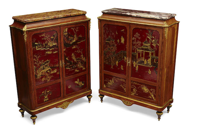 A near pair of French gilt bronze mounted scarlet lacquered walnut side cupboards