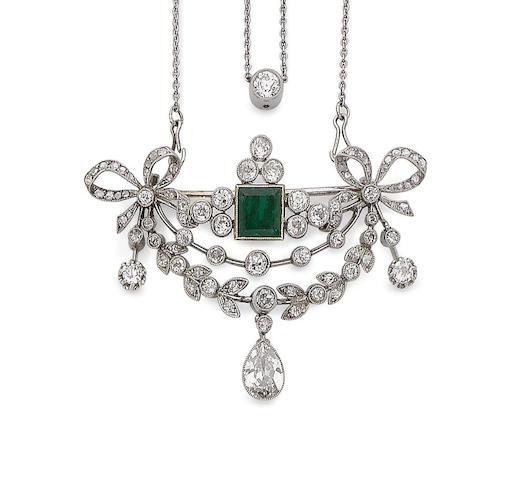 A belle époque emerald and diamond brooch/pendant necklace