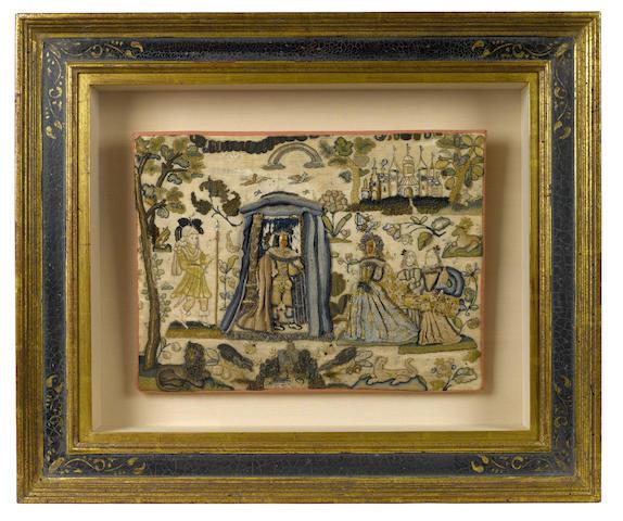 A Charles II stumpwork panel