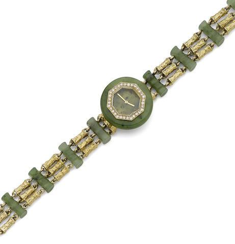 A nephrite and diamond wristwatch