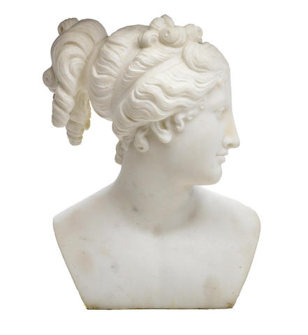 An Italian carved marble bust of Venus