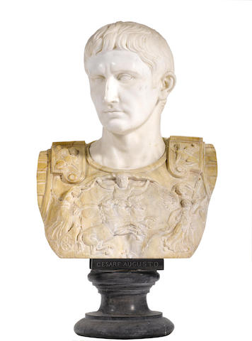 A carved marble bust of Augustus Caesar
