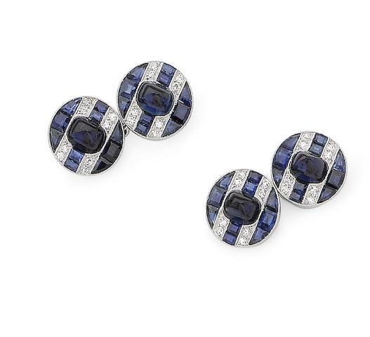 A pair of art deco sapphire and diamond cufflinks
