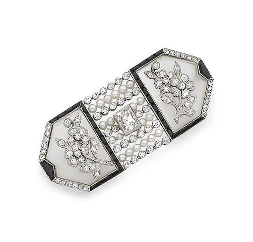 A rock crystal, onyx, pearl and diamond brooch