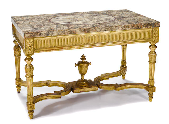 An Italian Neoclassical style carved giltwood center table