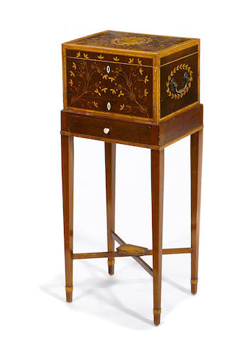 A good quality George III inlaid mahogany dressing box on later stand