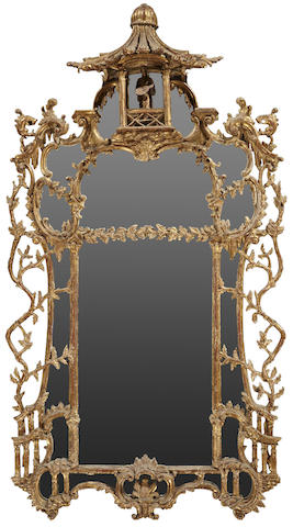 A George III style carved giltwood mirror in the Chinese Chippendale taste