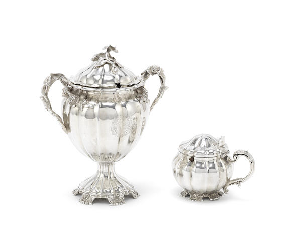 A Victorian silver two-handled condiment vase and mustard pot