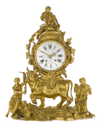 A Louis XV style gilt bronze figural mantel clock: Europa and the Bull