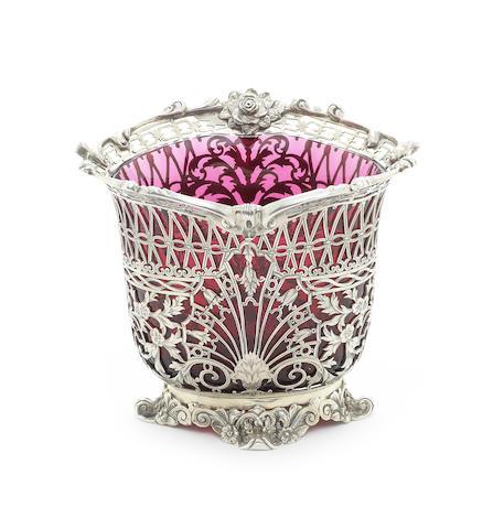 A pierced silver sugar vase