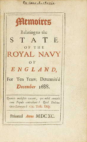 Memoires Relating to the State of the Royal Navy of England, for Ten Years, Determin'd December 1688. [London: n.p.,]