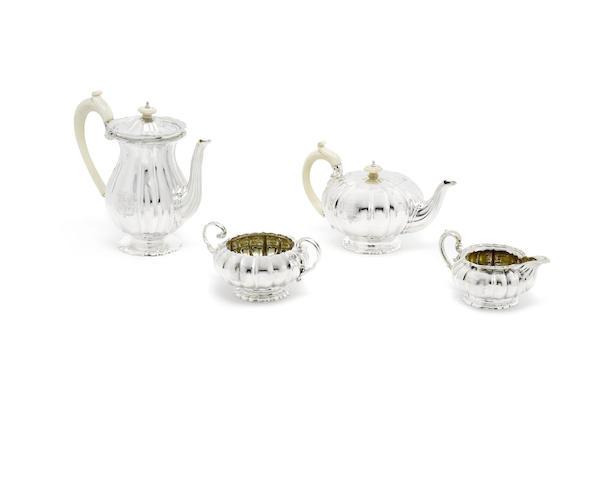 A George IV composite silver four-piece tea service