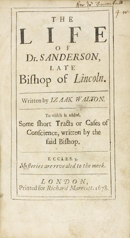 The Life of Dr. Sanderson, Late Bishop of Lincoln. London: Richard Marriott