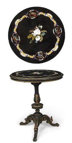 An Italian pietra dura parcel gilt and ebonized table