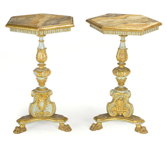 A pair of Italian Baroque style parcel gilt and paint decorated occasional tables