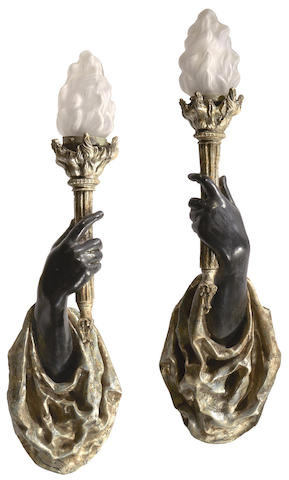 A pair of Venetian style polychrome decorated plaster wall sconces