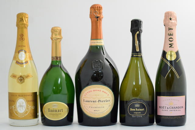 Louis Roederer Cristal 2002 ; Dom Ruinart 2002; Laurent-Perrier Cuvée Rosé; Moët & Chandon Rosé Impérial;Ruinart