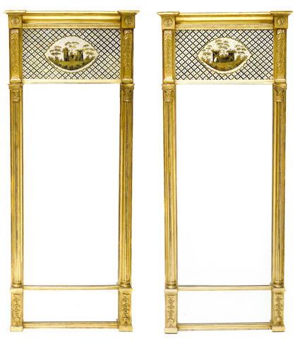 A pair of Neoclassical style carved giltwood, gesso and èglomisé pier mirrors