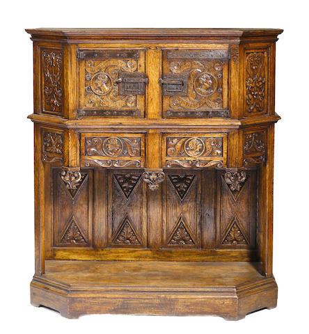 A Renaissance revival carved oak side cupboard