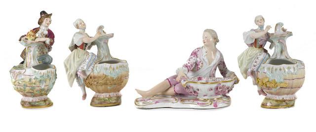 Four Meissen porcelain figural vessels