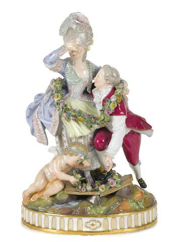 A Meissen porcelain figural group: The Broken Bridge
