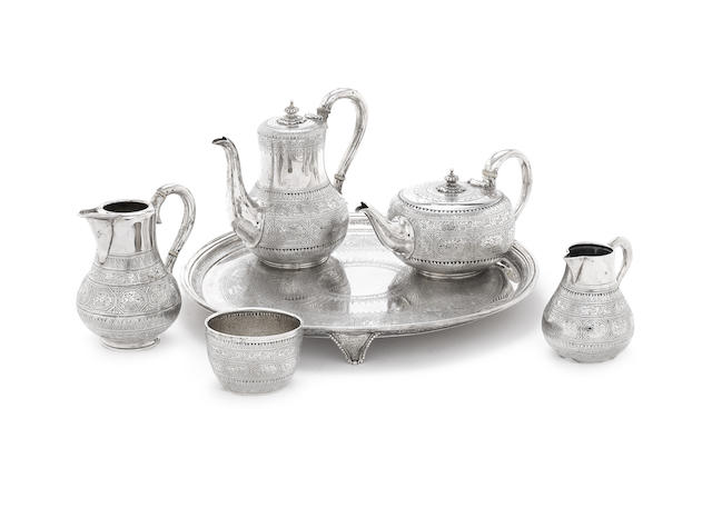 A Victorian six-piece silver tea and coffee service including tray
