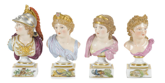 Four Meissen porcelain mythological busts of Minerva, Apollo, Juno and Ceres
