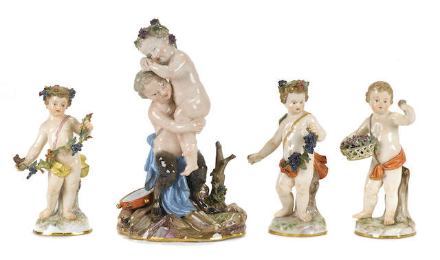 Four Meissen porcelain figures of putti
