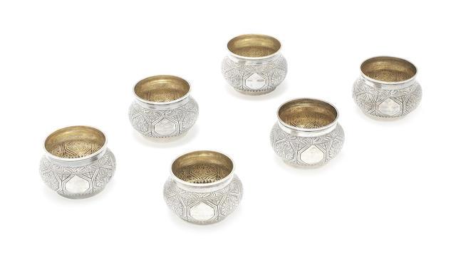 A set of six Victorian silver open salts