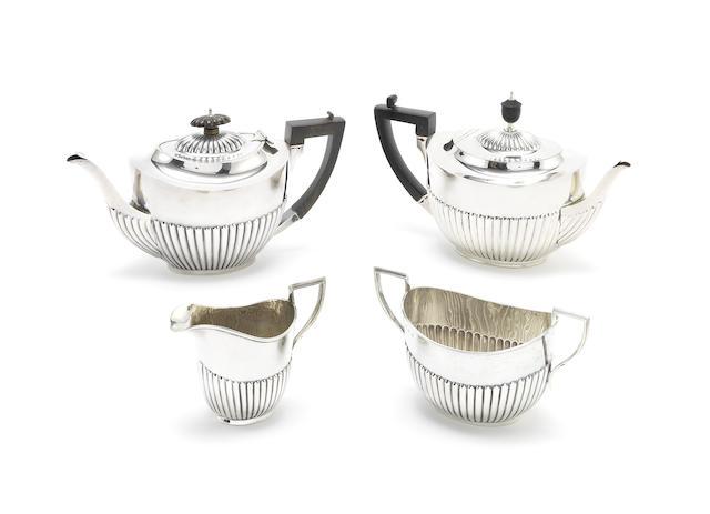An Edwardian Scottish silver three-piece tea service