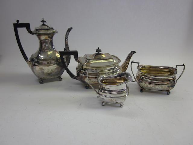 An Edwardian silver four-piece tea and coffee service